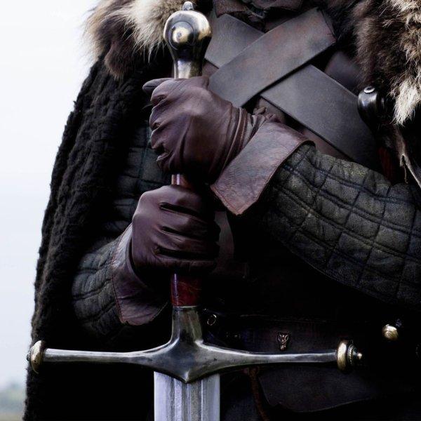 Эфес меча почти лишен непрактичных украшений.