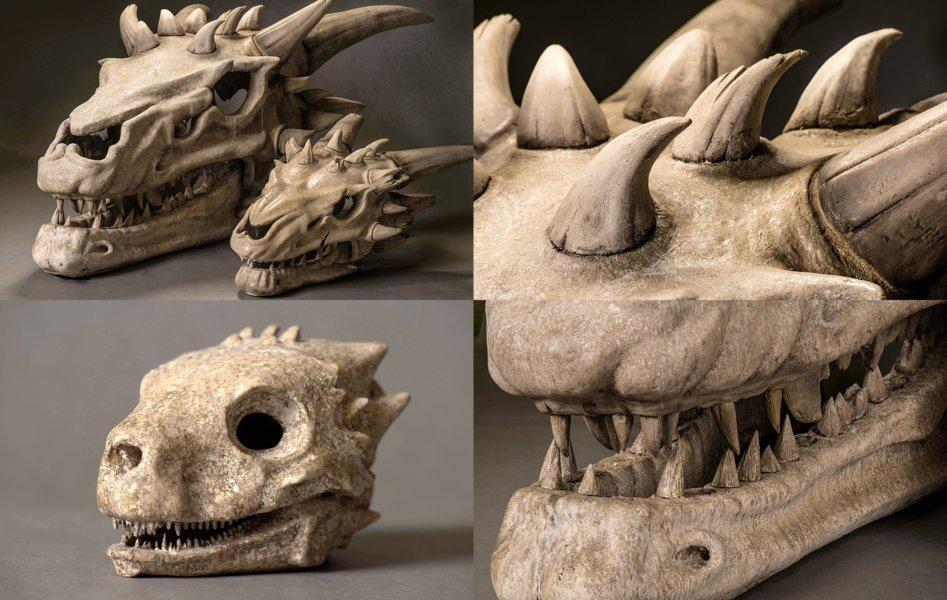 Скелеты драконов разных размеров под Королевской Гаванью. В книгах кость дракона черного цвета.