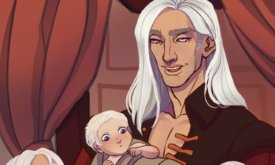 Дочери Деймона, рожденные Лейной Веларион, смотрят на новорожденного единокровного брата, рожденного Рейнирой Таргариен