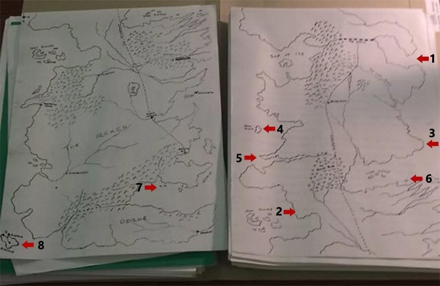 Один из ранних черновиков карты Вестероса