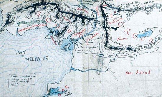 Нарисованная Толкином карта Средиземья