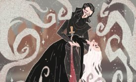 Смерть Дейнерис. У художницы есть другая иллюстрация, в которой герои изображены ближе к сыгравшим в сериале актерам; здесь же скорее аллюзия на историю об Азор Ахае и финал Игры престолов