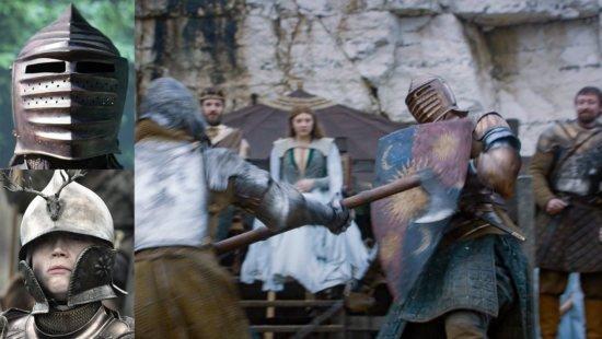 Щит с гербом Тартов и два шлема Бриенны