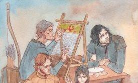 Шутливая иллюстрация на тему, как в Винтерфелле мальчики за женской работой сидят