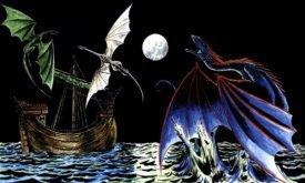 Драконы охотятся в море по пути из Кварта в залив Работорговцев