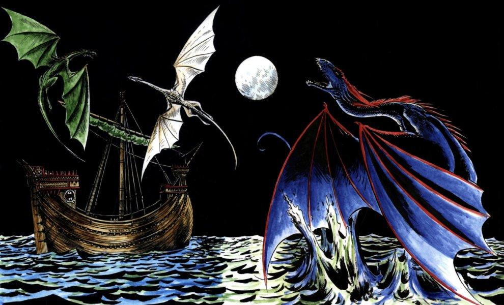 Драконы охотятся в море по пути из Кварта в залив Работорговцев (обложка «Бури мечей»)