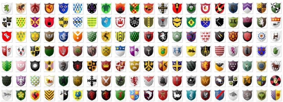 Часть из нарисованных нами гербов проекта