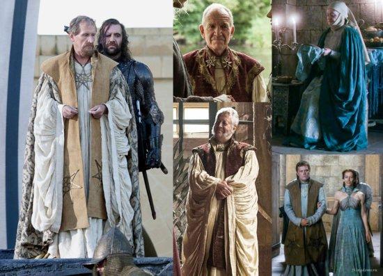 Слева одеяние септонов при короле Эйрисе, Роберте и Томмене, справа септон и септа в Долине