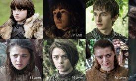 Возраст актеров Игры престолов в разных сезонах